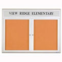 "United Visual Products 60""W x 36""H 2-Door Indoor Enclosed Corkboard with Header and Radius Frame"