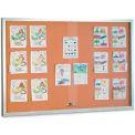 "United Visual Products 96""W x 48""H Sliding Glass Door Corkboard with Satin Radius Frame"
