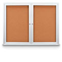"United Visual Products 42""W x 32""H Indoor Combo Board w/Two Corkboards"