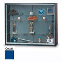 "72""x48""x16"" Black Laminate Display Case w/3 Shelves and Cobalt Accent Interior"