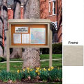 """United Visual Products 45""""W x 30""""H Cork Top-Hinged Single Door Message Center with Light Gray Frame"""