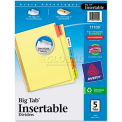 WorkSaver Big Tab Reinforced Dividers, Multicolor Tabs, 5-Tab, Ltr, Buff, 1/Set
