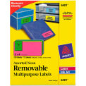 Avery® Removable Self-Adhesive Multipurpose Labels, 2 x 4, Assorted Neon, 120/Pack