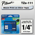 "Brother® P-Touch® TZe Labeling Tape, 1/4""W, Black on Clear"