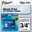 """Brother® P-Touch® TZe Labeling Tape, 3/4""""W, Black on Clear"""