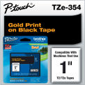 """Brother® P-Touch® TZe Labeling Tape, 1""""W, Gold on Black"""