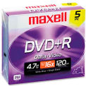 Maxell 639002 DVD+R Discs, 4.7GB, 16x, w/Jewel Cases, Silver, 5/Pack