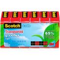 """Scotch® Transparent Greener Tape, 3/4"""" x 900"""", 1"""" Core, 6/Pack"""