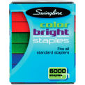 Swingline® Color Bright Staples, Assorted Colors, Blue, Red, Green, 6,000/Pack