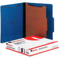 Universal® Pressboard Classification Folders, Letter, Four-Section, Cobalt Blue, 10/Box