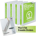 "Wilson Jones® Basic Round Ring View Binders w/5-Tab Divider Set, 1"" Capacity, White, 4/Carton"