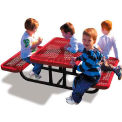 4' Rectangular Child's Picnic Table, Expanded Metal, Red