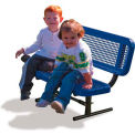3' Preschool Bench with Back - Perforated, Blue