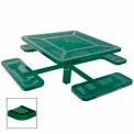 """46"""" Single Pedestal Square Table, Inground, Perforated 78""""W x 78""""D - Green"""
