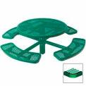 "46"" Single Pedestal Round Table, Inground, Expanded Metal 78""W x 78""D - Green"