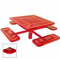 """46"""" Single Pedestal Square Table, Inground, Perforated 78""""W x 78""""D - Red"""