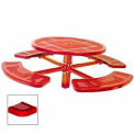 """46"""" Single Pedestal Round Table, Inground, Perforated 78""""W x 78""""D - Red"""