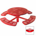 """46"""" Single Pedestal Round Table, Inground, Expanded Metal 78""""W x 78""""D - Red"""
