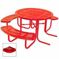 """3-Seat, 46"""" ADA Round Table, Perforated 80""""W x 63""""D - Red"""