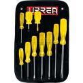 Urrea Amber Handle Screwdriver Set In Blister Pack, JBUD02, Flat, Cabinet & Phillips Tip, 10 Pieces