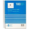 """Sparco™ 5-Subject Notebook, 8"""" x 10-1/2"""", Wide Ruled, Bright White, 180 Sheets/Pad"""