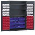 Vari-Tuff Jumbo Bin & Shelf Cabinet - 4 Shelves 137 Colored Bins