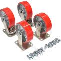 """Vestil 6"""" x 2"""" Poly-On-Steel Caster Kit D-CK4-PU6-2 for Vestil Hopper - 4800 Lb. Cap."""
