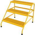 Vestil Aluminum Yellow Wide Step Stand - 3 Step - SSA-3W-KD-Y