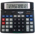 "Victor® 12-Digit Desktop Calculator, 12004, Dual Power, 7-1/4"" X 6-3/8"" X 1/2"", Black"