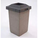 "Concrete Waste Receptacle W/Red Pitch In Lid, 20"" X 20"" Tan"
