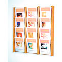 12 Pocket (3Wx4H) Acrylic & Oak Wall Display - Light Oak