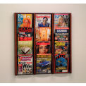 12 Pocket (3Wx4H) Acrylic & Oak Wall Display - Mahogany