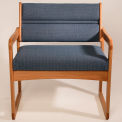 Bariatric Sled Base Chair - Light Oak/Gray Arch Pattern Fabric