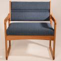 Bariatric Sled Base Chair - Light Oak/Gray Arch Pattern Fabric