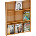 9 Magazine/18 Brochure Oak & Acrylic Wall Display - Medium Oak