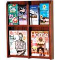 4 Magazine/8 Brochure Oak & Acrylic Wall Display - Mahogany