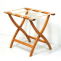 Luggage Rack w/ Convex Legs - Medium Oak/Tapestry