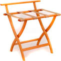 Wooden Mallet WallSaver™ Luggage Rack with Tan Webbing, Medium Oak