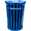 Recycling Flat Top Lid w/2 Hole Opening, Blue - M3601-FTL2H-BL