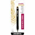 Zebra StylusPen® Retractable Ballpoint Pen, 1.0mm, Black Ink/Onyx Barrel, 1/Pack - Pkg Qty 6