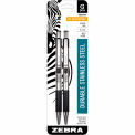 Zebra G-301 Gel Retractable Pen, 0.7mm, Stainless Steel Barrel, Black Ink, 2 PK