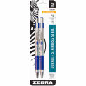 Zebra G-301 Gel Retractable Pen, 0.7mm, Stainless Steel Barrel, Blue Ink, 2 PK