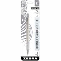 Zebra Retractable Ballpoint Pen F-701 - Black Ink - Stainless Steel Barrel