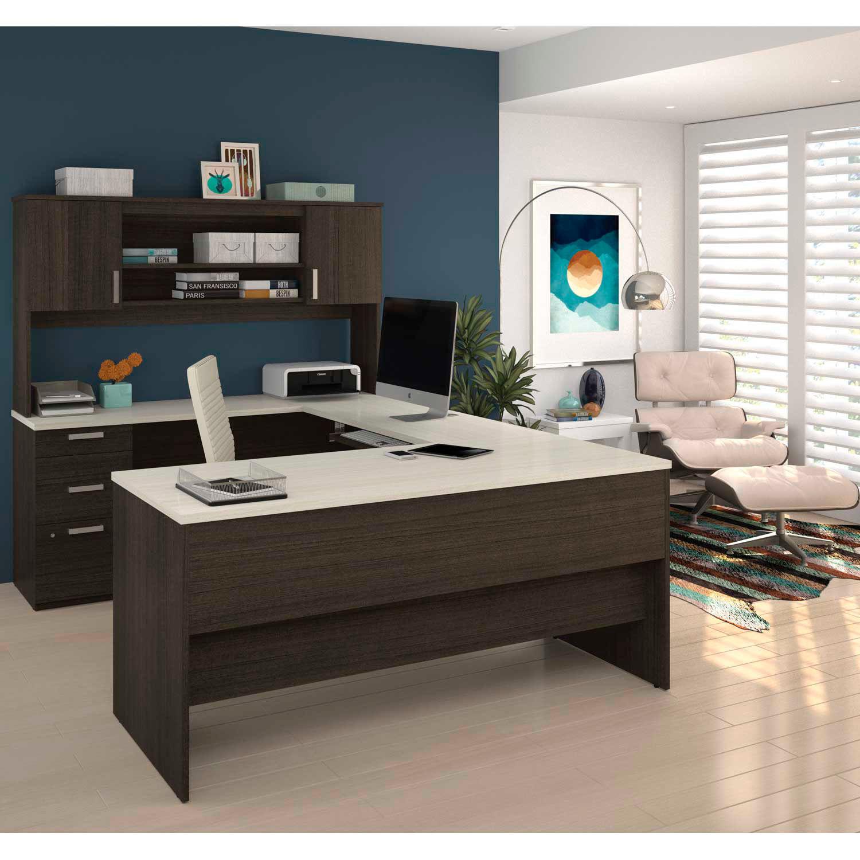 Bestar® U-Shaped Desk - Dark Chocolate and White Chocolate - Ridgeley Series