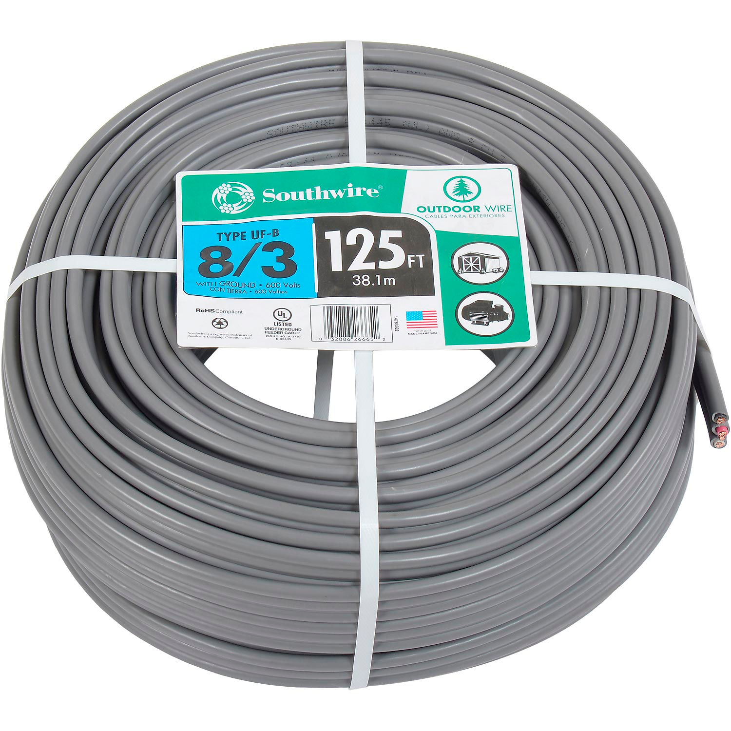 Solid Jacketed Gray Copper Wire Cable 100 Ft UF-B 10//3 Direct Burial Underground