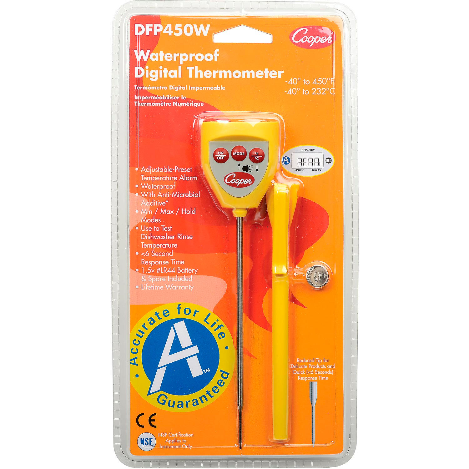 Cooper-Atkins DFP450W-0-8 Digital Pocket Test Thermometer with Temperature Alarm