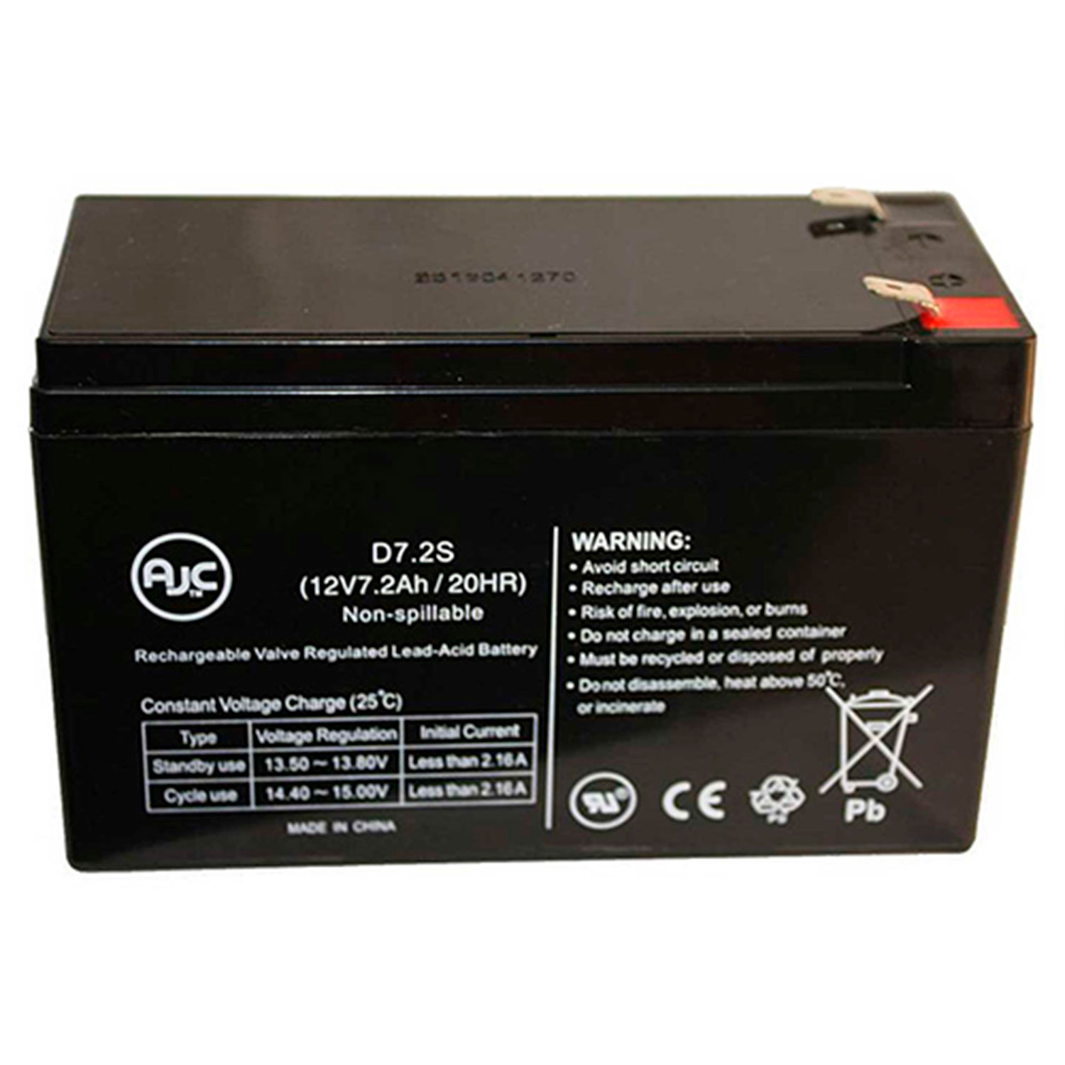 Portalac PX12072-HG 12V 7Ah Sealed Lead Acid Battery This is an AJC Brand Replacement