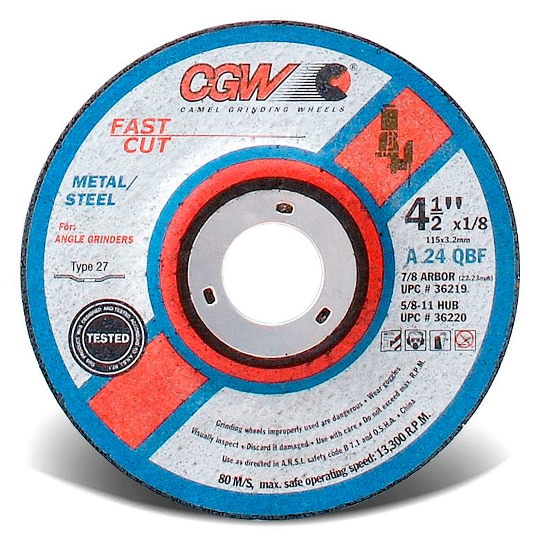 4 1//2 in Dia 1//4 in Thick 276 Pack 24 Grit Aluminum Depressed Center Wheel