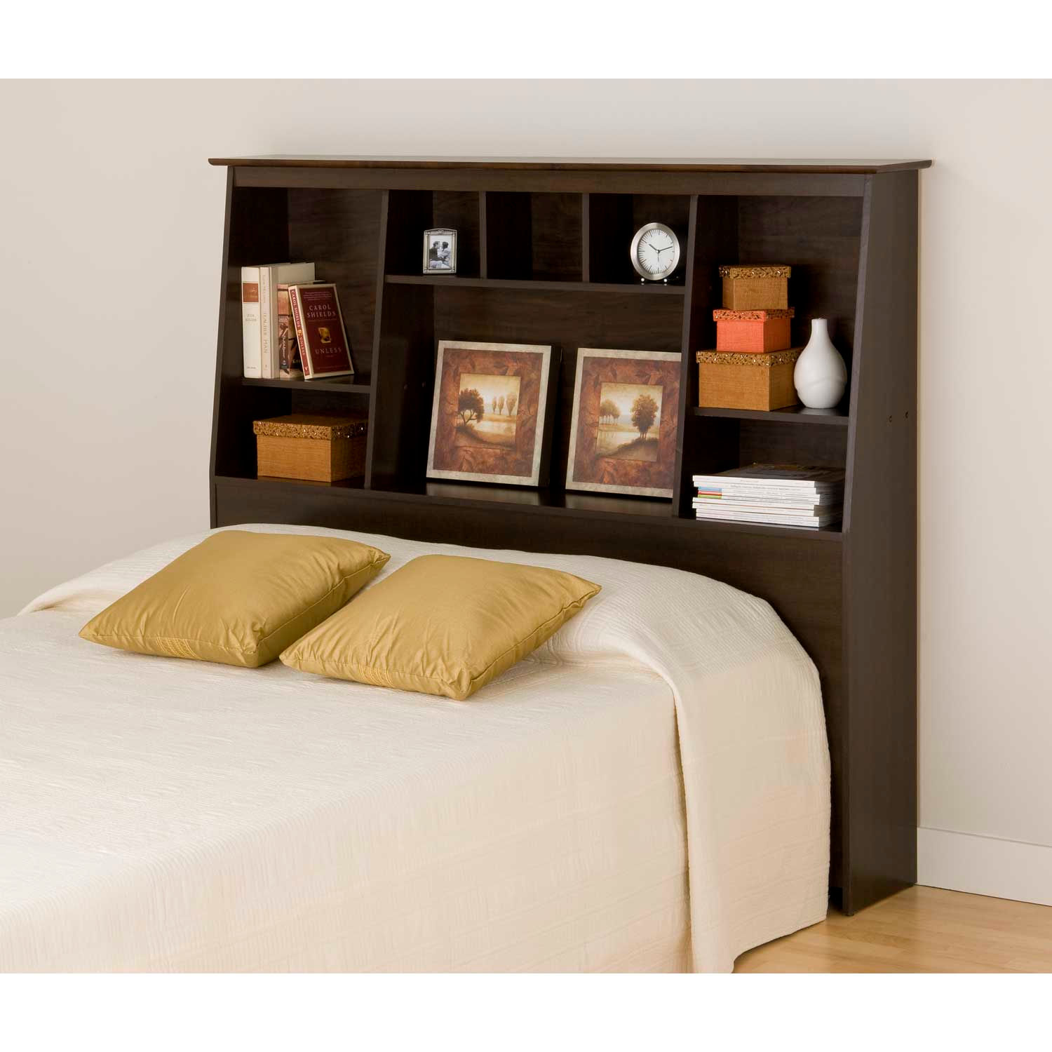 Prepac Manufacturing Espresso Full/Queen Tall Slant-Back Bookcase Headboard