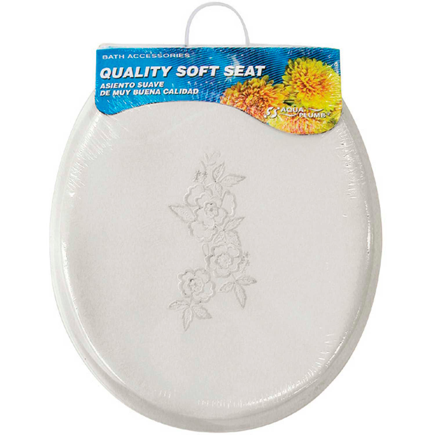 Aqua Plumb CTSEW Round Soft Toilet Seat White Embroidered Butterfly